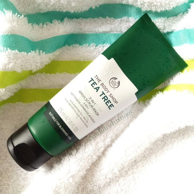 Review of The Body Shop Tea Tree 3-in-1 Wash, Scrub, Mask, a multi-tasking skincare product that cleans, scrubs and works as a mask.