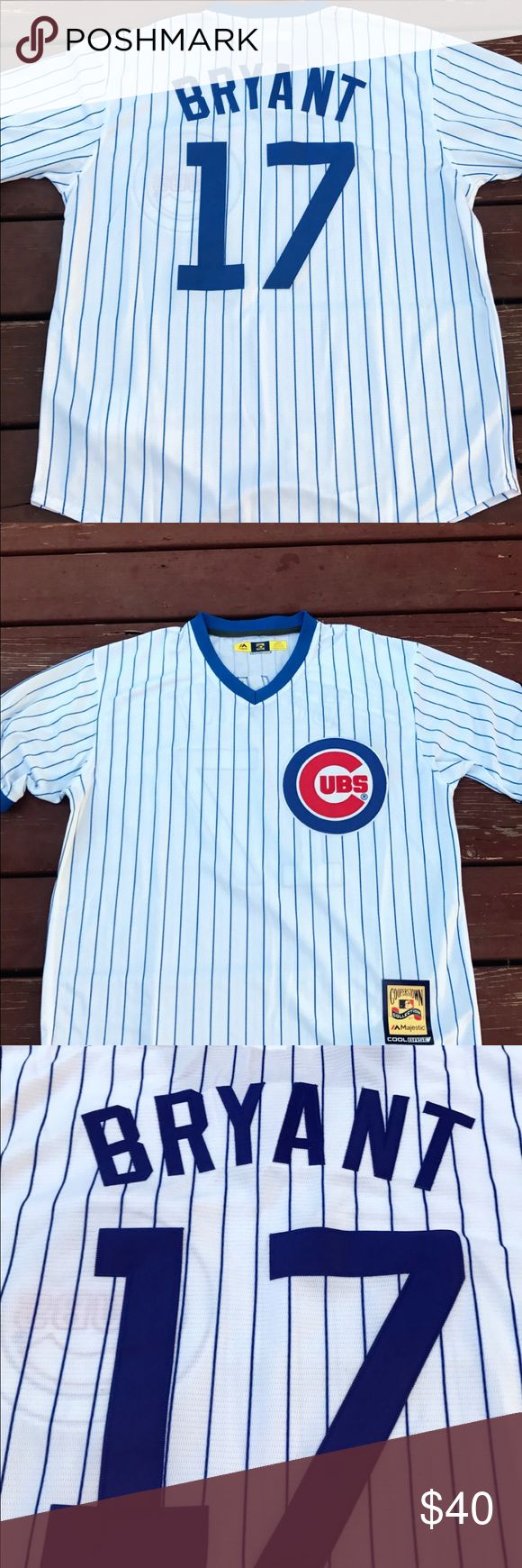 Men's Kris Bryant Cubs 1988 Throwback Jersey (L) Men's Chicago Cubs Kris Bryant 1988 Cooperstown Collection Throwback jersey. Brand new with tags, fully embroidered, size large jersey. Please check my listings for more Cubs merchandise for Men, Women and kids. I recently closed my retail store and am liquidating everything cheap. It's all gotta go.  Over 300 jerseys! Don't see something? Ask! Go Cubs! Majestic Shirts Tees - Short Sleeve