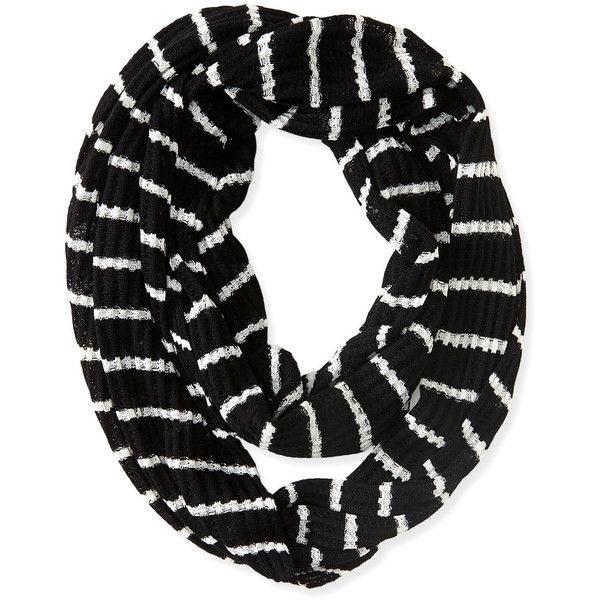 Aeropostale Striped Knit Infinity Scarf (145 EGP) ❤ liked on Polyvore featuring accessories, scarves, black, print infinity scarf, knit infinity scarf, pattern infinity scarf, knit scarves and infinity scarves