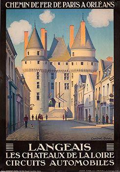 VintageTravel Poster - Langeais - Chateaux de la Loire.