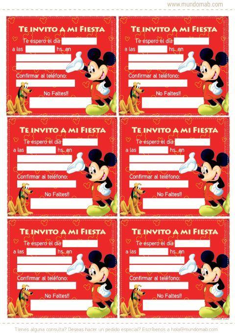 Invitaciones De Mickey Mouse Para Imprimir Invitaciones De