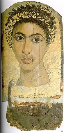 Fayum mummy portait is the modern term given to a type of naturalistic painted portraits on wooden boards // the Fayum mummy portraits were an innovation dating to the Coptic period on time of the Roman occupation of Egypt.