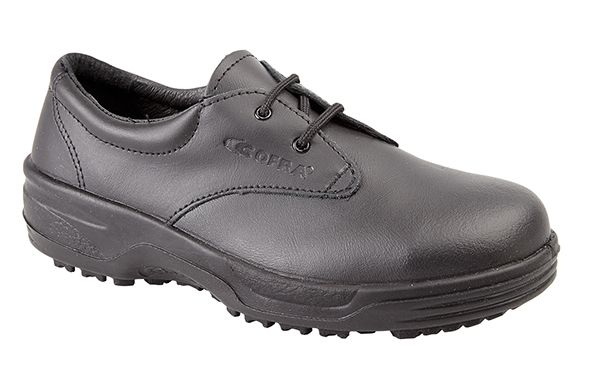 2200:  A new style COFRA black leather safety shoe.  It's S2, having a steel toe cap and midsole unit with a water resistant upper.  It's oil resistant with a 200C sole unit.  It's ideal for warehouse and service applications.  Available in sizes 3 - 8.  RRP £37.75
