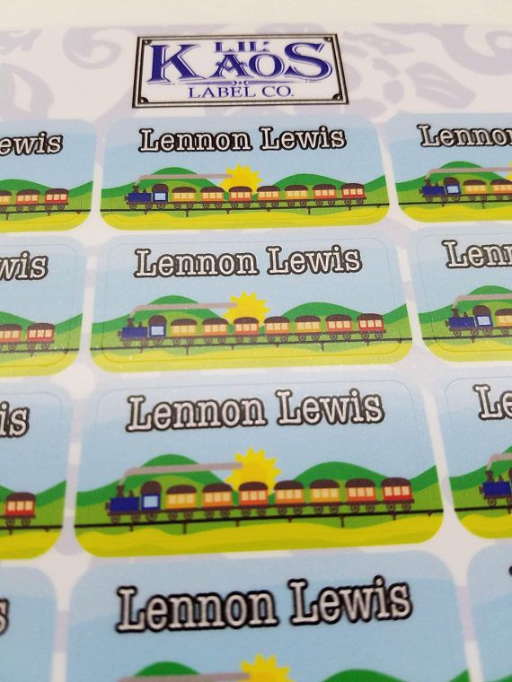 Train Kids Personalized Name Label Sticker for Daycare, School, Water Bottles. Like Thomas the Train
