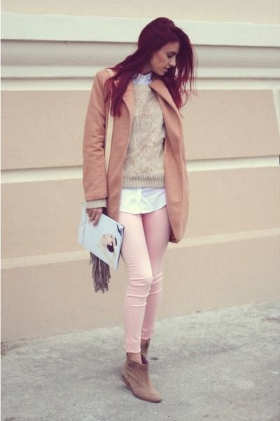 nude coat - peach jeans