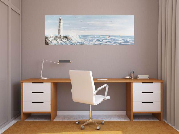 Peintures Acryliques, Acryl Gemälde 'Stürmische See' 150x50cm est une création orginale de KUNSTLOFT sur DaWanda