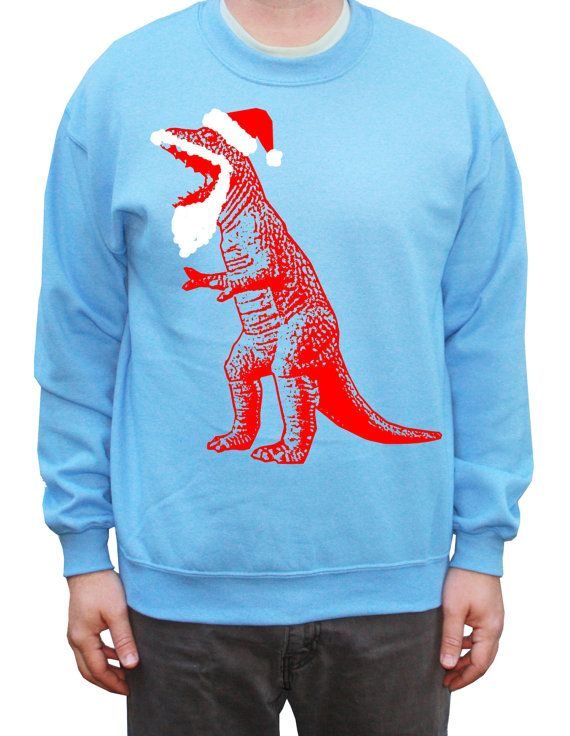 Funny Ugly Christmas Sweater Santa TRex Dinosaur by happyfamily, $28.00