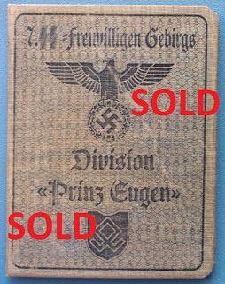7TH SS VOLUNTEER MOUNTAIN DIVISION PRINZ EUGEN GEBIRGSJAGER WAFFEN SS SOLDBUCH ID CARD WEHRPASS PRICE $125