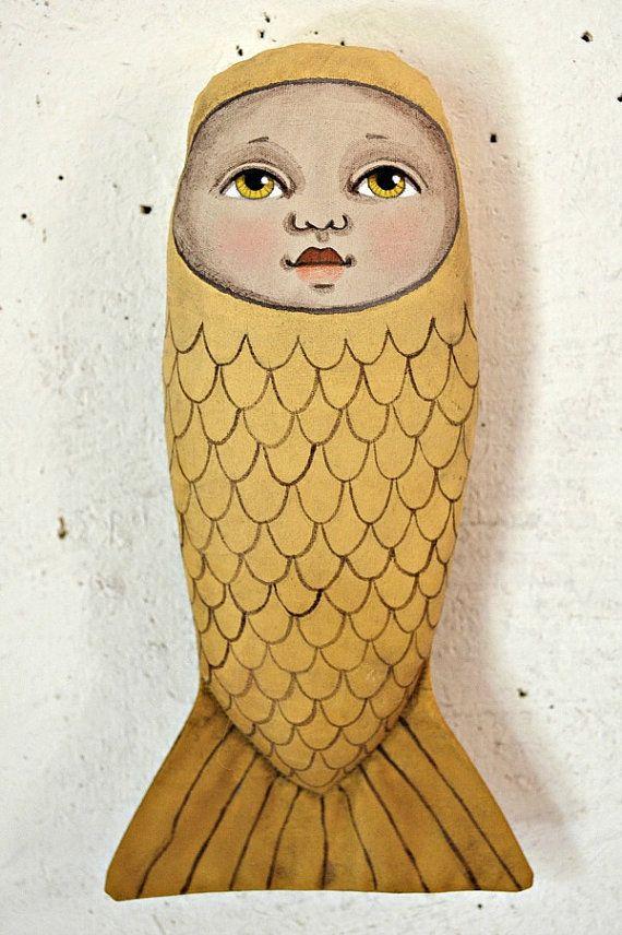 Mermaid Folk Art Doll Cloth Sculpture Hand Painted Original-- Custom Made to Order