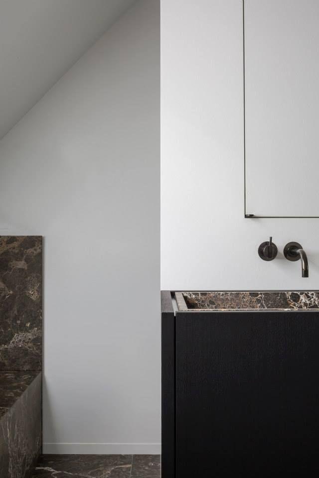 VOLA Taps and Showers for Bathroom in Black Bathroom C in Jabbeke Belgium by Fredric Kielemoes