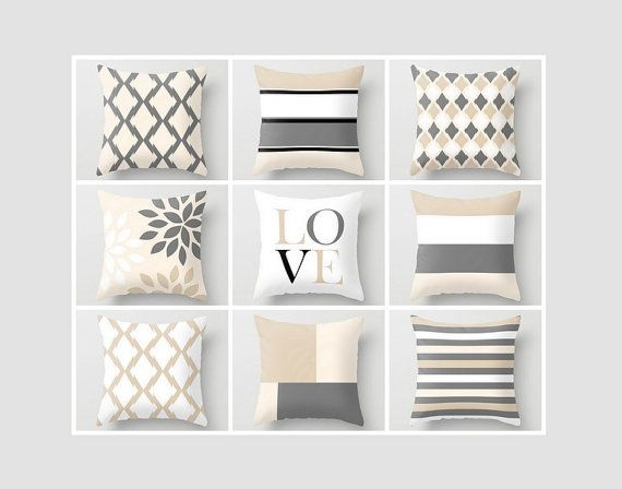 Neutral Throw Pillow Covers Geometric Home Decor Grey Beige Black White Cream Love Pillow Throw Pillow Covers Decorative Covers