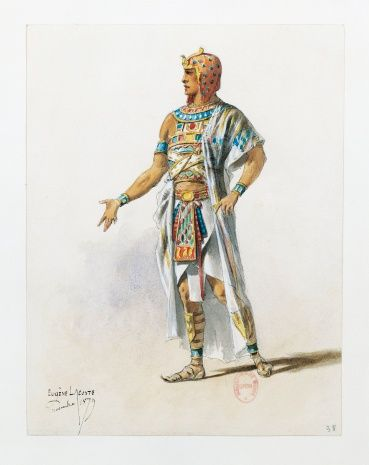 France, Paris, Costume sketch for Radames in Aida by Giuseppe Verdi for the performance at Paris, Sa