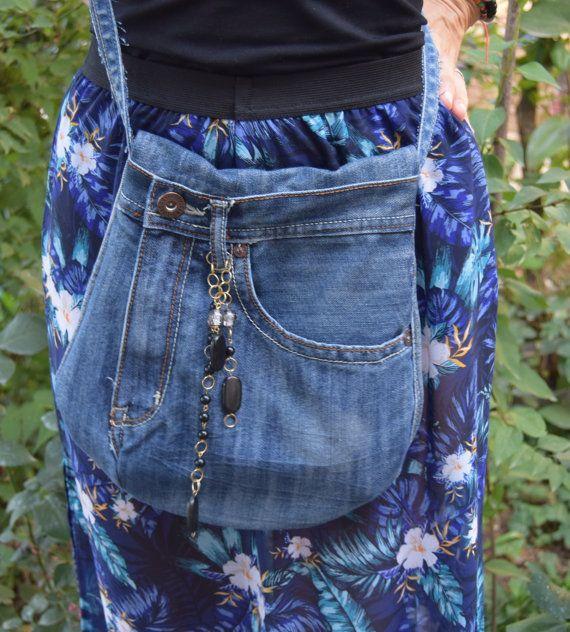 Crossbody Denim Bag with Chain Decoration, Racycled Boho Bag, Small Denim Purse…