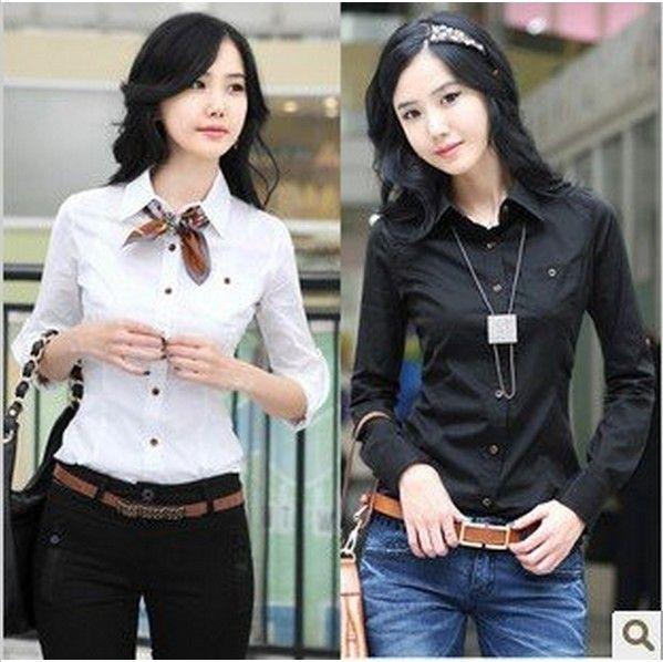 Cheap las mujeres camisa largo  algodón de manga delgada blusa camisa venta caliente ol camisa casual de oficina clásico señora manga larga, Compro Calidad Blusas y Camisas directamente de los surtidores de China: