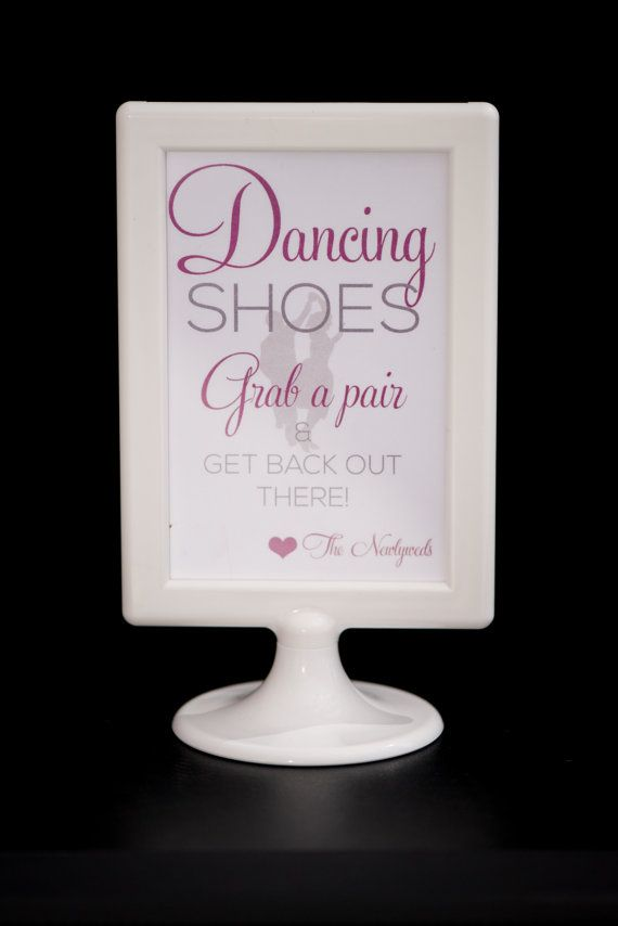 Wedding Dancing Shoes Sign | Flip Flop Basket | Modern Glam | Digital Download | DIY Printable | 4X6 | Custom Color
