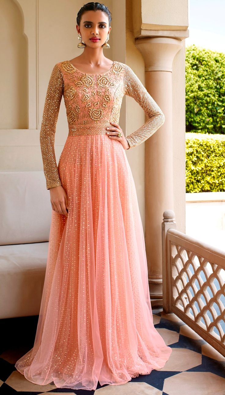 Peach Net Resham Embroidered On Neck Floor Length Anarkali Suit With Chiffon Dupatta