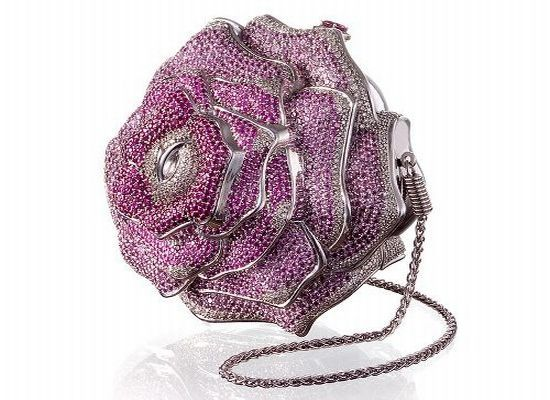 Most Expensive Bags/The Precious Rose is in the shape of a perfect flower, the bag has 1,016 diamonds totaling 42.56 carats, 1,169 pink sapphires and 800 tourmalines. There is only one available in the world.
