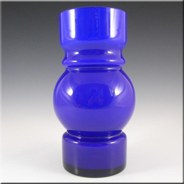 Lindshammar 1970's Swedish Blue Hooped Glass Vase - £79.99