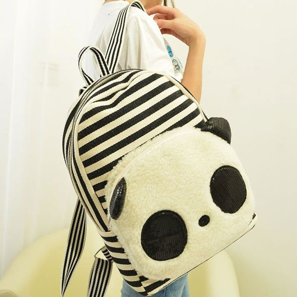 Cute Panda Cartoon Stripe Sequin Canvas School Bag Backpack |Fashion Backpacks - Fashion Bags - ByGoods.com