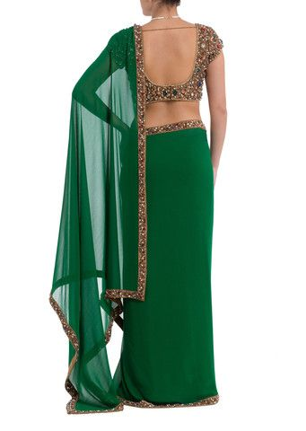 Emerald Green Saree & Jewelled Blouse