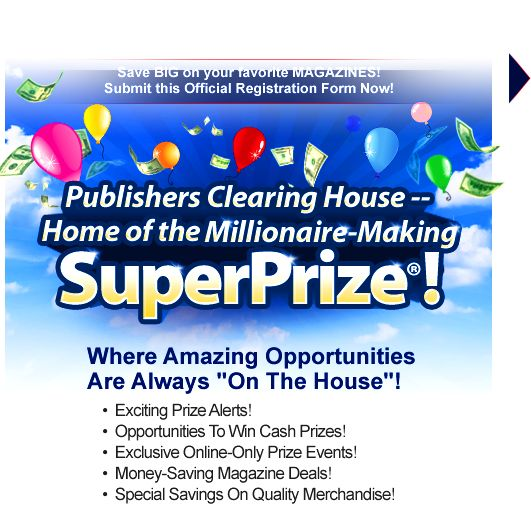 automatically enter publishers clearing house sweepstakes