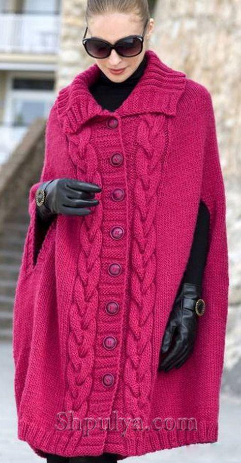 Розовое пальто-пончо с разрезами вместо рукавов