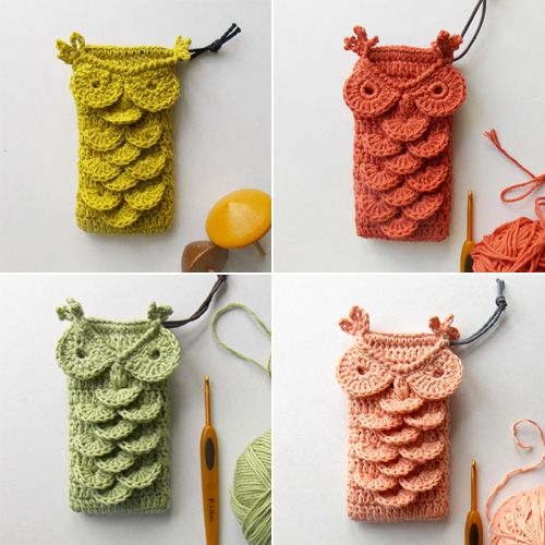 Crochet Owl Phone Case and Patterns.  Link to pattern for purchase