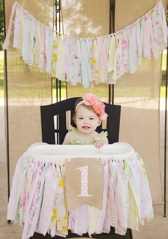 Girls High Chair Banner First Birthday Party Supplies