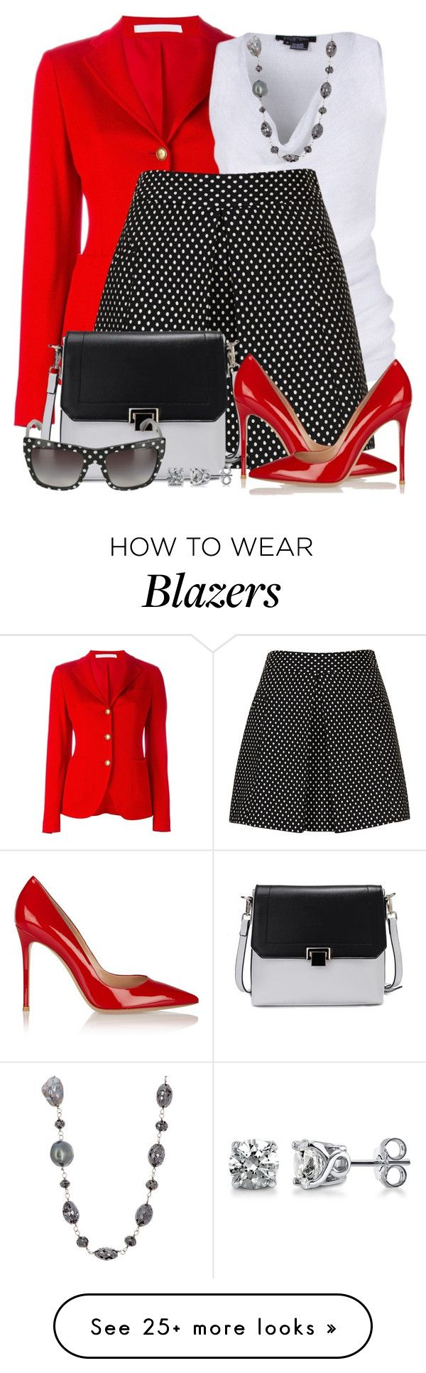 """Fitted Blazer & A-Line Skirt"" by brendariley-1 on Polyvore featuring Tagliatore, Etcetera, Topshop, Gianvito Rossi, Monique Péan, Dolce&Gabbana, BERRICLE, skirt, topshop and polkadot"