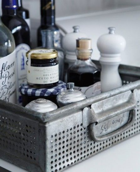 condiment crate: Metals Trays, Kitchens Counters, Metals Baskets, Kitchen Counters, Styles At Homes, Organizations Kitchens, Kitchens Idea, Kitchens Storage, Kitchens Organizations