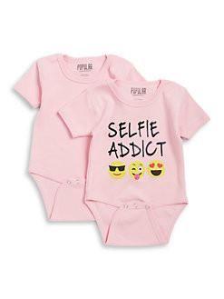 BNWT Miss Popular 2 pack selfie addict baby girl bodysuit 12 months