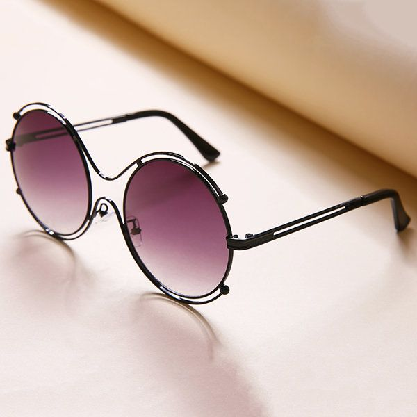 Fashion Tide Woman Hollow Double Ring Anti-UV Sunglasses Leisure Vintage HD Glasses Eyewear
