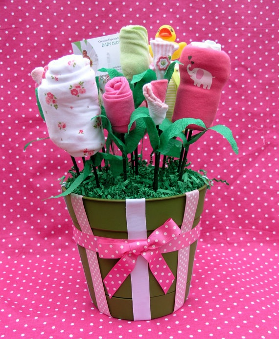 New Baby Gift Girls Flower Bouquet by babyblossomco on Etsy
