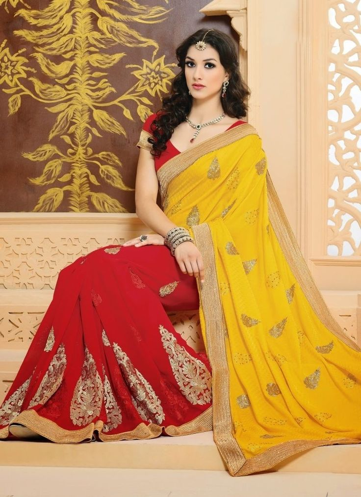 Vogue And Pattern Will Be On The Peak Of Your Magnificence Once You Dresses This Yellow red #PartyWearSarees. The Karachi Work|Lace|Moti|Resham|Stones Work Appears Chic And Best For Any Celebration.