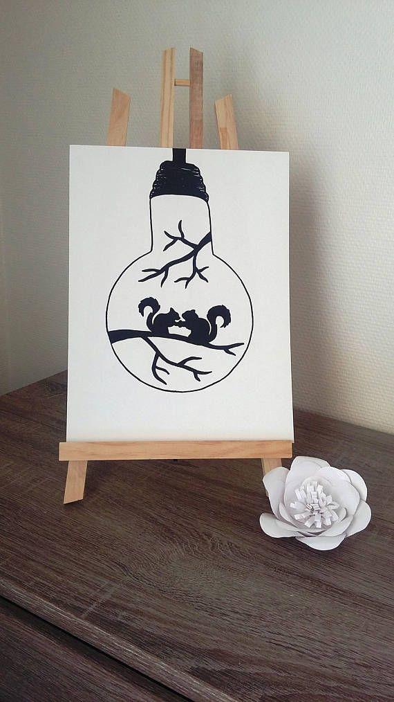 "Poster Illustration black and white bulb ""romance"""