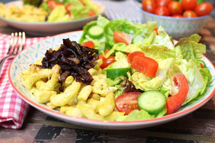 Zünftige Küche, die nicht nur im Schwabenländle schmeckt... 3 Portionen Spätzle-Basisrezept 3 Eier Größe L 50 g Haferkleie 50 g Eiweißpulver Natural 1 TL S