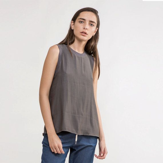 Oversize tank top,Loose tank Blouse,grey shirt,grey tank Top,grey Blouse,summer shirt,short sleeve shirt,classic grey top,Long Tank Top