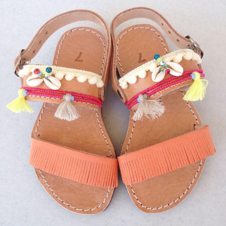 Baby coral bohemian sandals  by @bohemian__dreams!