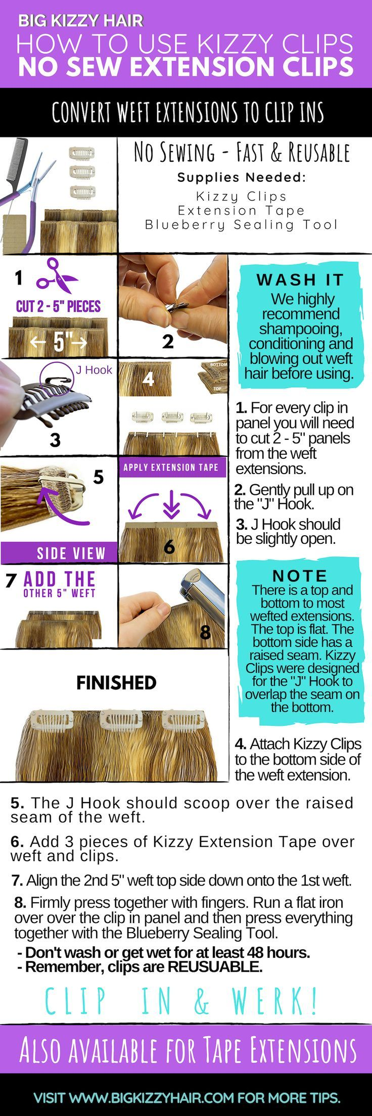 How to Convert Weft Hair Extensions to Clip in Hai…