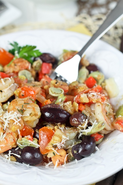Shrimp and Fava Beans with Tomatoes and Kalamata Olives | Recipe