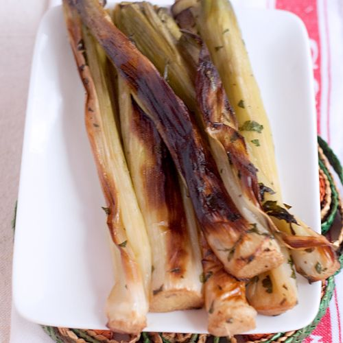 Roasted leeks are a great Spring side dish. They go with everything from chicken to lamb to beef.