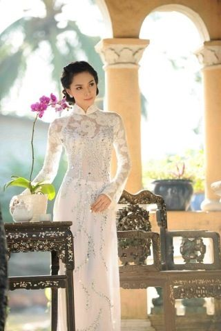 White lace ao dai with bling!