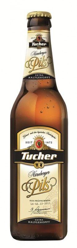 Cerveja Tucher Nurnberger Pils, estilo German Pilsner, produzida por Tucher Bräu Fürth, Alemanha. 5% ABV de álcool.