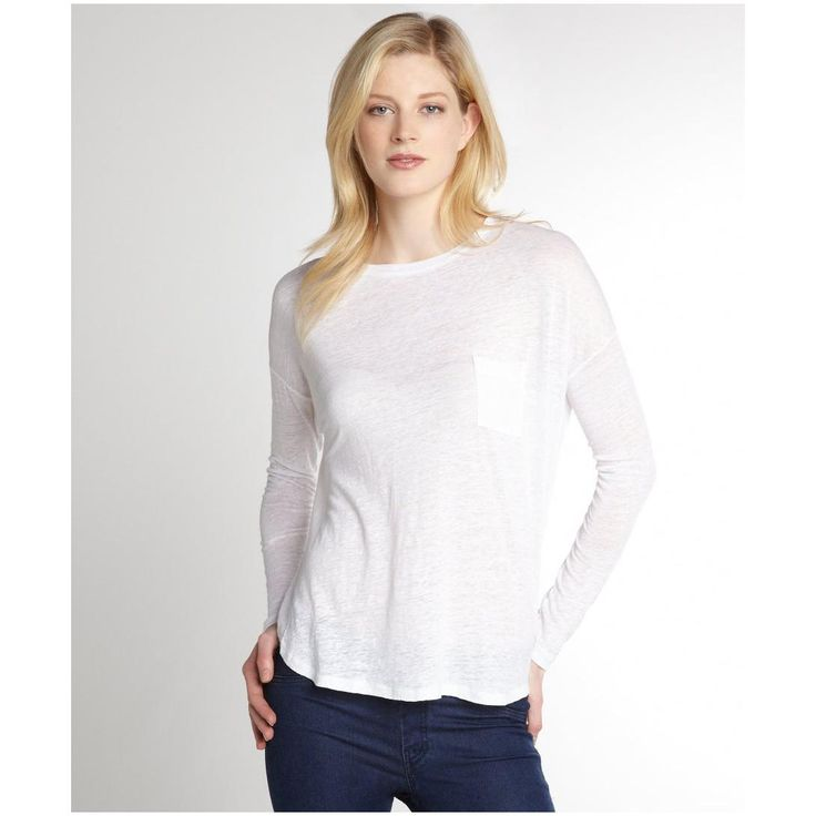 Vince Women S White Linen Long Sleeve Chest Pocket T Shirt
