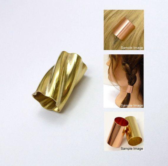 A brass hair tube a hair findings hair supplies  by artstudio88