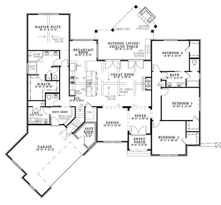 First Floor image of Buchanan Drive House Plan I love this layout
