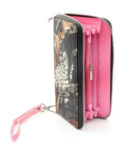 PINK LICENSED MOSSY OAK CAMO CAMOUFLAGE ZIPPER FLAT WALLET
