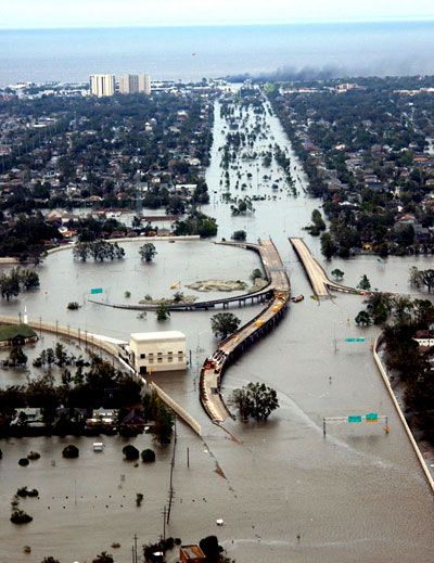 Hurricane Katrina - A freeway submerged by the flood