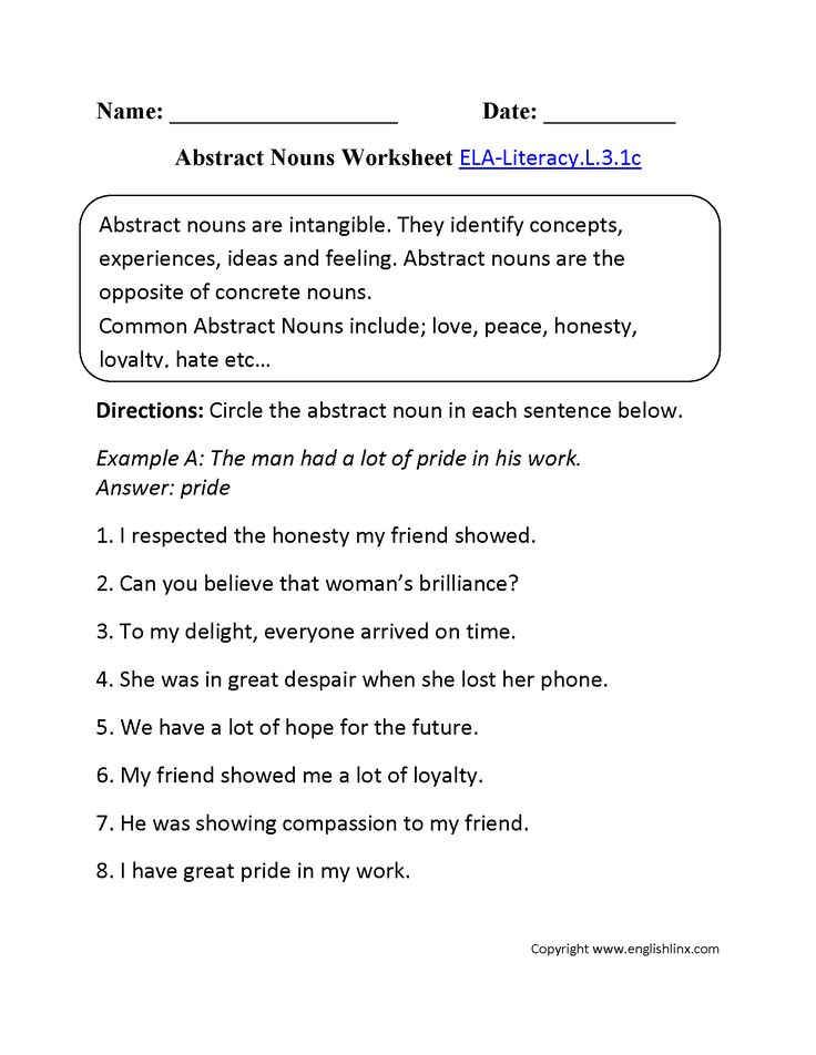 Abstract nouns worksheet 1 ela literacy l language for Concrete diction
