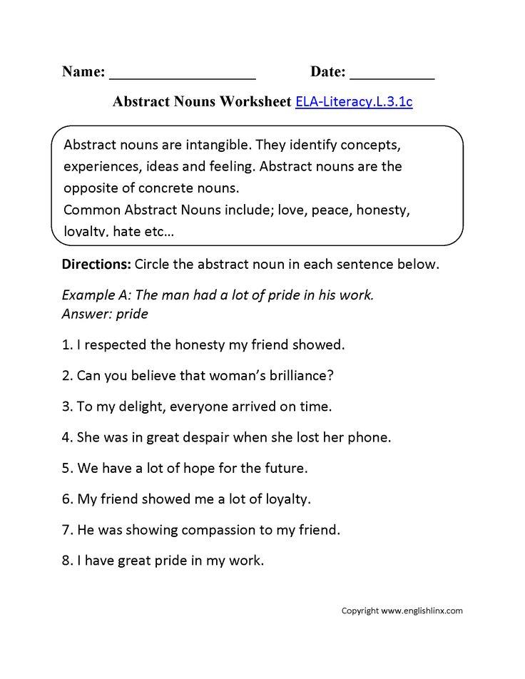 Abstract Nouns Worksheet 1 ELA-Literacy.L.3.1c Language Worksheet